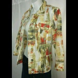 Chico's Linen Jacket Abstract Art Fabric Buttons M